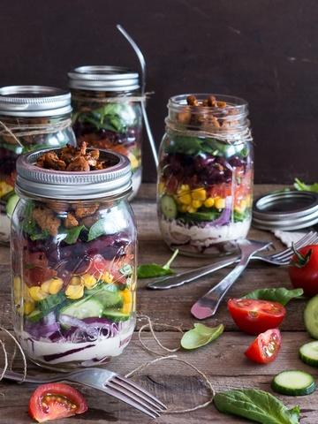 Rezept BBQ Salat im Glas