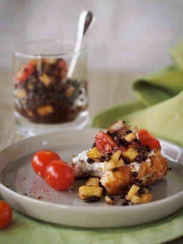 Rezept Belugalinsen-Salat mit Ananas und Tomate