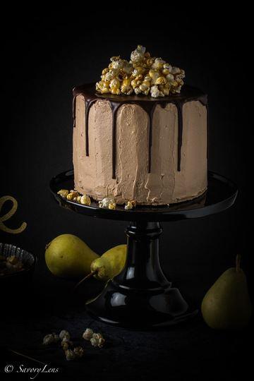 Rezept Birnen-Nougat-Torte mit Karamell-Popcorn