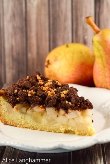 Rezept Birnenkuchen mit Kakaostreuseln
