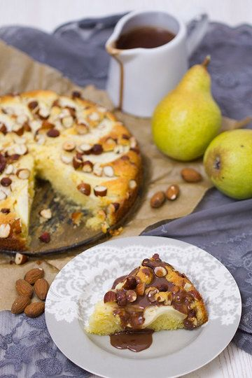 Rezept Birnenkuchen mit Mandeln und Schokosoße