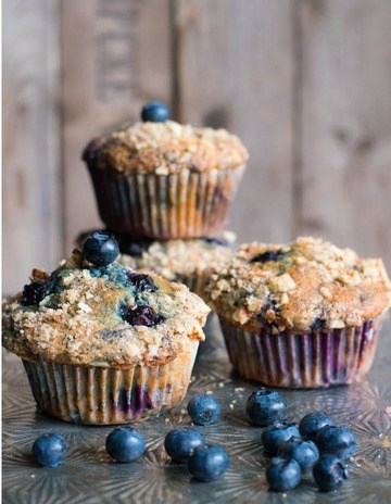 Rezept Blaubeer-Joghurt Muffins mit Nussstreuseln