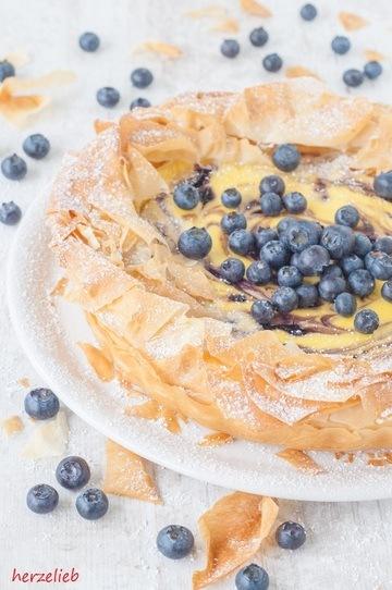 Rezept Blaubeer-Käsekuchen im Filoteig