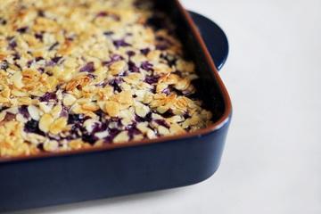 Rezept Blaubeerkuchen mit karamellisierten Mandeln