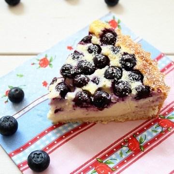 Rezept Blueberry Cheesecake mit Hefeboden