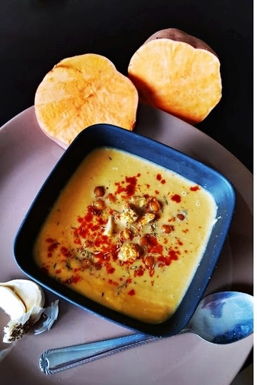 Rezept Blumenkohl, Kichererbsen & Süßkartoffel Suppe