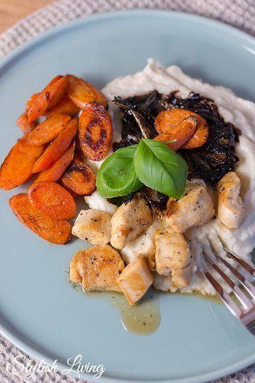 Rezept  Blumenkohlpüree mit Balsamico-Schalotten, Kikokhähnchen und Karotten
