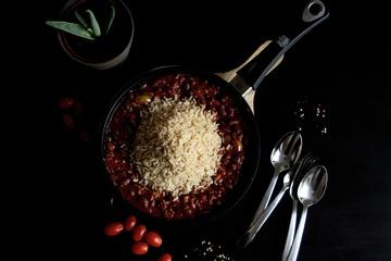 Rezept Bohnen-Hackfleisch-Pfanne mit Reis