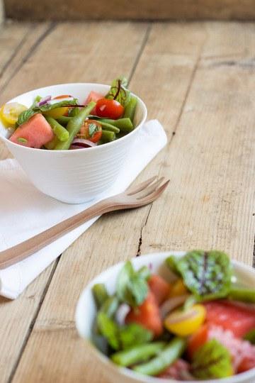 Rezept Bohnensalat mit Blutampfer, Wassermelone und Tomaten