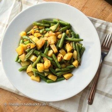 Rezept Bratkartoffeln mit grünen Bohnen