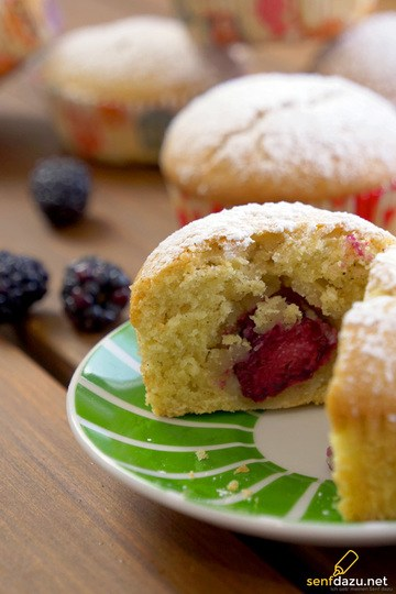 Rezept Brombeer Marzipan Muffins