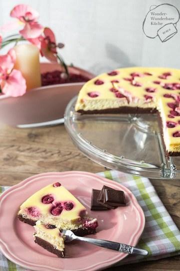 Rezept Brownie-Cheesecake mit Himbeeren