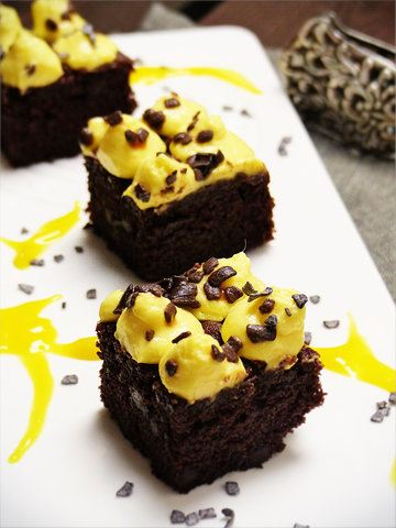 Rezept Brownie mit Mango Cheese Cream