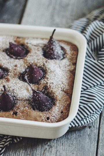 Rezept Brownies mit Rotweinbirnen