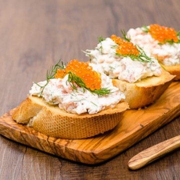 Rezept Bruschetta mit Räucherlachs und Forellenkaviar