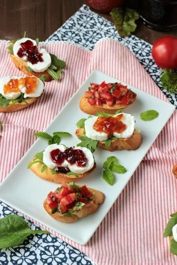 Rezept Bruschetta,Ziegenkäse-Crostini und feines Gelee - Fingerfood vom Feinsten