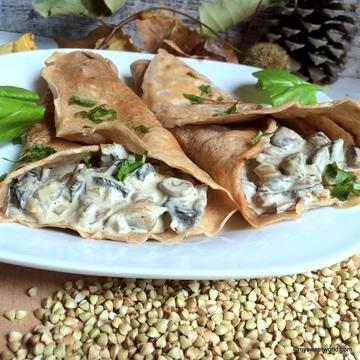 Rezept Buchweizenpfannkuchen mit Champignons