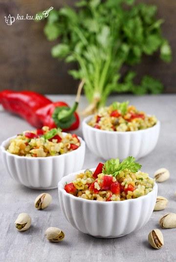 Rezept Bulgur-Linsen-Salat mit rotem Paprika und Koriander