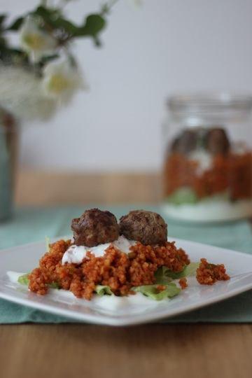 Rezept Bulgur-Salat mit Hackbällchen