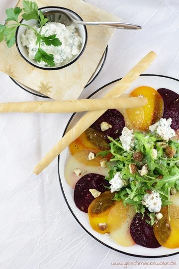 Rezept Bunte Bete Carpaccio mit Hüttenkäse und Haselnüssen