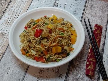 Rezept bunte Chinapfanne mit Gemüse, Reis und Pute