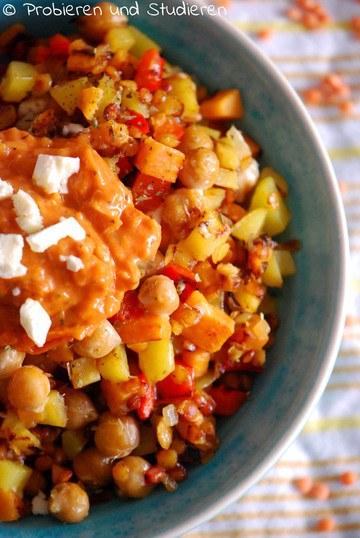 Rezept Bunte Gemüse-Pfanne mit Kichererbsen & Süßkartoffeln