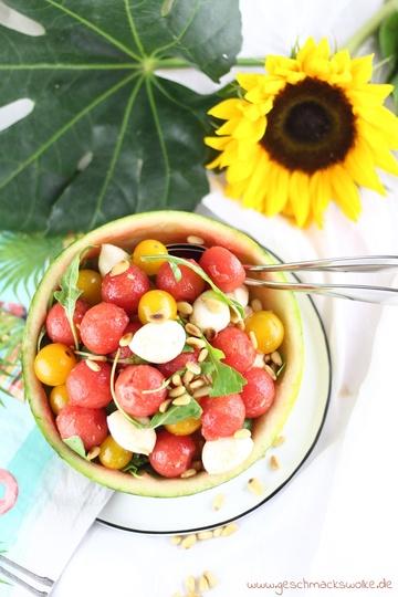 Rezept Bunter Sommersalat mit Wassermelone, Tomaten und Mozzarella