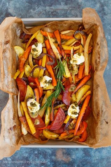 Rezept Buntes Gemüse aus dem Ofen mit Kapern-Zitronen-Vinaigrette