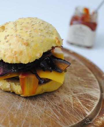 Rezept Burger mit dicke Bohnen Patty & Ofengemüse
