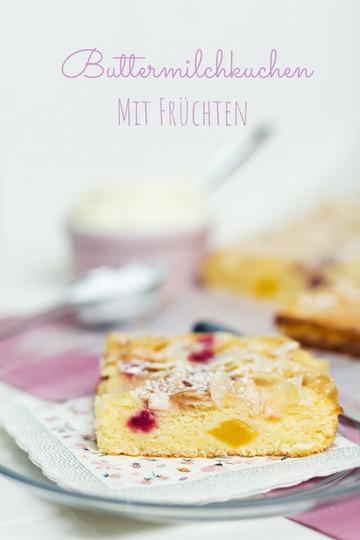 Rezept Buttermilchkuchen mit Früchten