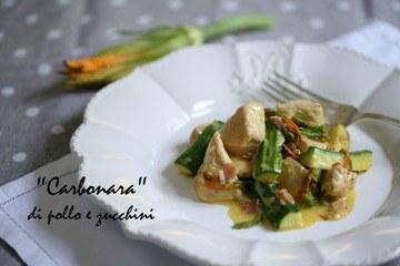 "Rezept ""Carbonara"" di pollo, zucchini e fiori di zucca"