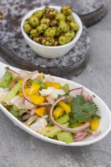 Rezept Ceviche vom Kabeljau mit Wasabi Nüssen