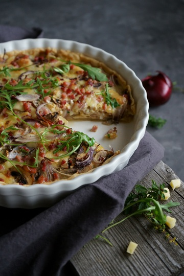 Rezept Champignon Quiche mit roten Zwiebeln und Speck