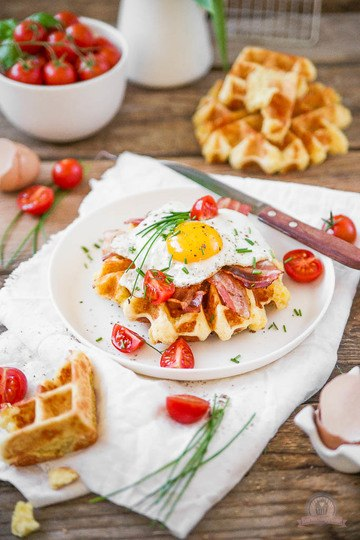 Rezept Cheddar Frühstückswaffeln