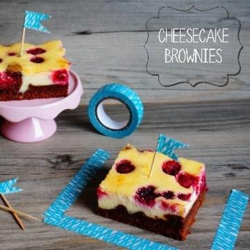 Rezept Cheesecake-Brownies mit Himbeeren