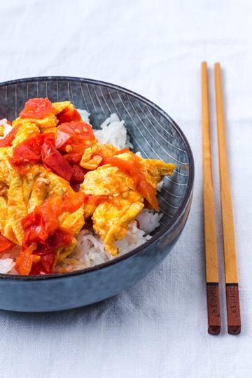 Rezept Chinesisches Rührei mit gebratenen Tomaten