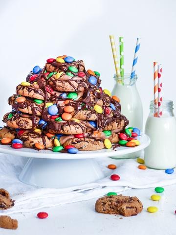 """Rezept Chocolate Chip Cookie, M&M und Nutella """"Kuchen"""""""