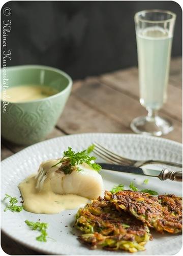 Rezept Confierter Kabeljau mit Spargelrösti und Sauce Mousseline