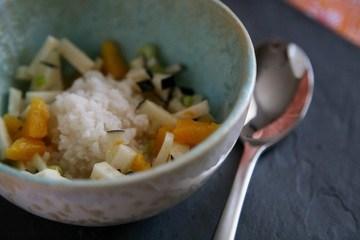 Rezept Congee mit schwarzem Rettich