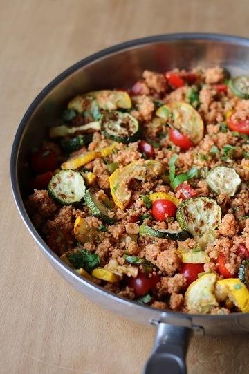Rezept Coucoussalat mit gebratener Zucchini und Kirschtomaten