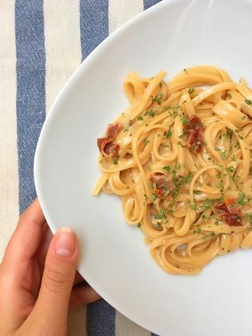 Rezept Cremige Bavette mit getrockneten Tomaten und Basilikum