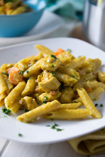 Rezept Cremige Chicken Curry One Pot Pasta