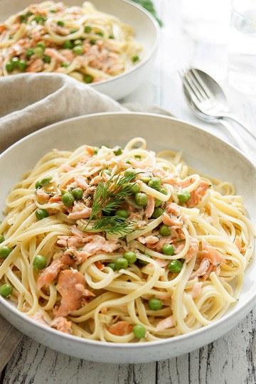 Rezept Cremige Räucherlachs Pasta mit Erbsen