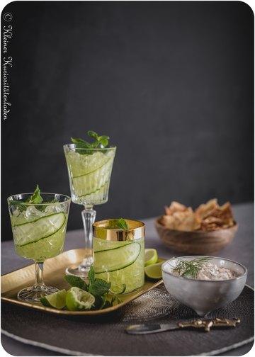 Rezept Cucumber Gimlet | Olivenölcracker | Räucherlachsdip