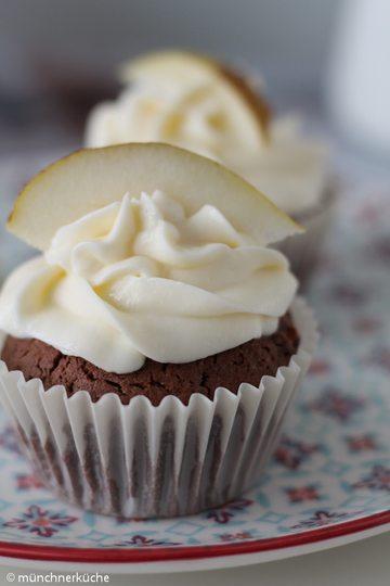 Rezept Cupcakes mit Birne und Schokolade