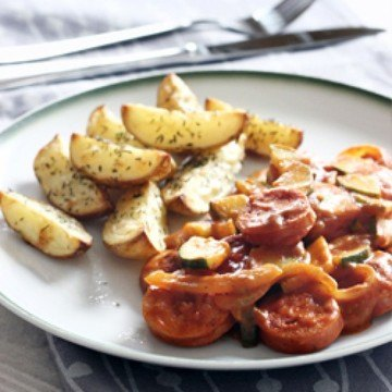 Rezept Currywurst mit Zucchini