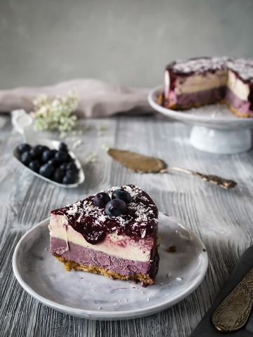 Rezept Der Rawcake der Saison: Roher Blaubeer Kokos Cheesecake