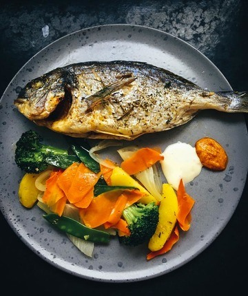 Rezept Dorade aus dem Ofen mit buntem Gemüse