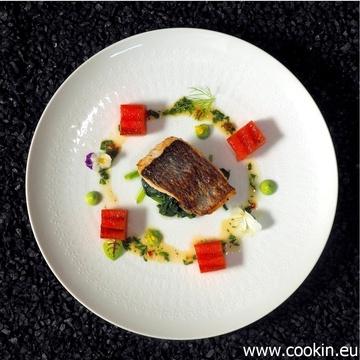 Rezept Dorade, Wasabi-Spinat, Spinat-Creme, gegrillte Wassermelone, exotische Vinaigrette