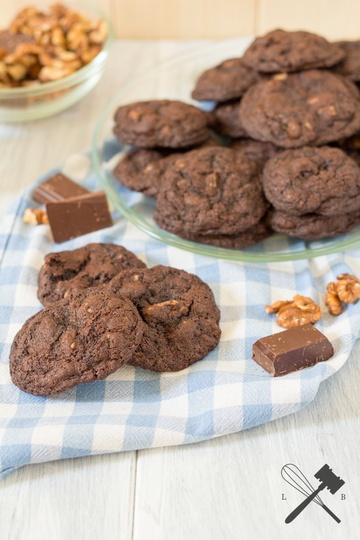 Rezept Double Chocolate Nut Cookies